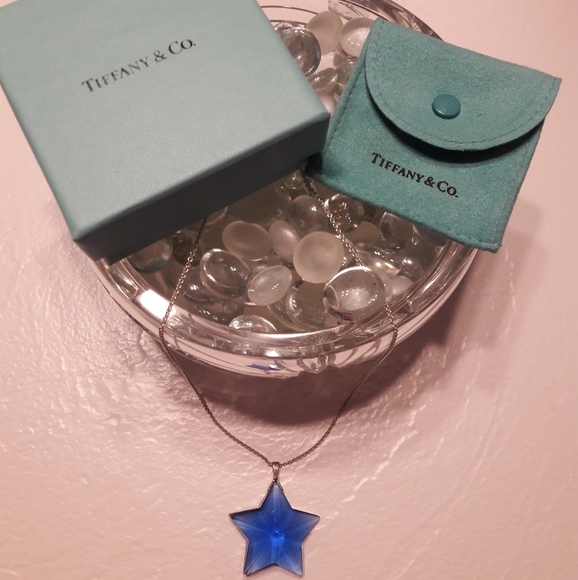 Tiffany & Co. Blue Star Crystal Pendant with Chain
